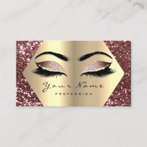 Gold Bean Glitter Makeup Artist Lashes Browns Business Card