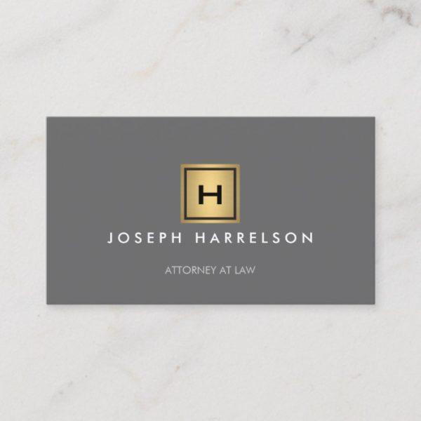 GOLD BOX LOGO with YOUR INITIAL/MONOGRAM on Gray Business Card