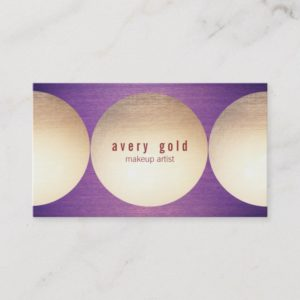 Gold Circle Purple Wood  Modern Beauty Salon Business Card