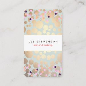 Gold Circles & Colorful Confetti Beauty Salon Fun Business Card
