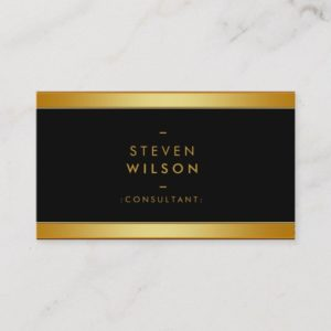Gold Foil Elegant Retro Financial Services Business Card
