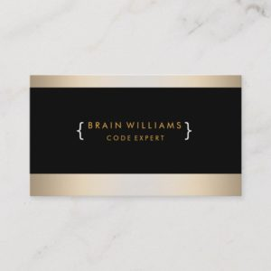 Gold Foil Faux Web Computer Professional Elegant Business Card