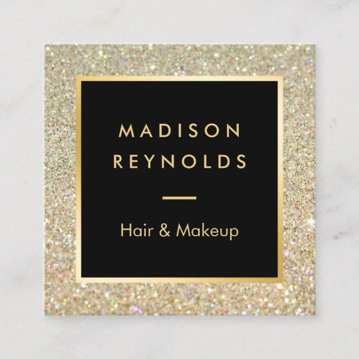 Gold Glitter Sparkles Modern Fashionable Square Business Card
