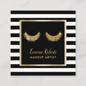 Gold Lashes Makeup Artist Modern Black Stripes Square Business Card