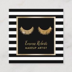 Gold Lashes Makeup Artist Modern Black Stripes Square Business Card