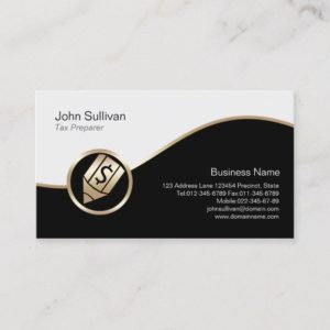 Gold Pen Dollar Icon Tax Preparer Business Card