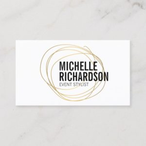Gold Scribble with Bold Text Abstract Design Business Card