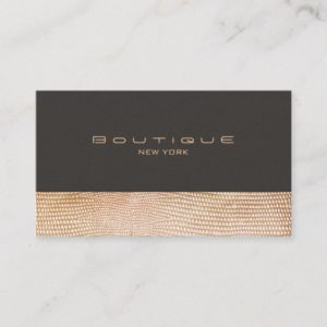 Gold Snake Skin and Suede Fashion Boutique Business Card