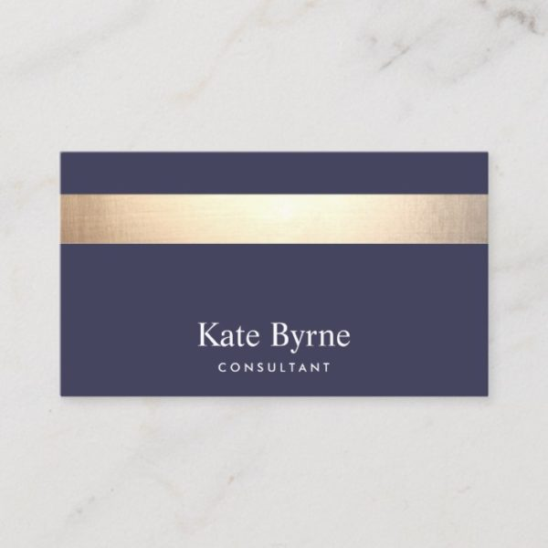 Gold Striped Modern Stylish Navy Blue Business Card