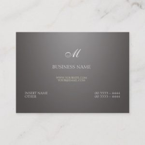 Gray Gradient and Monogram Business Card