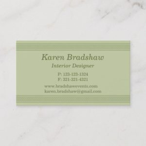 Green Celtic Knot Interior Designer Business Cards