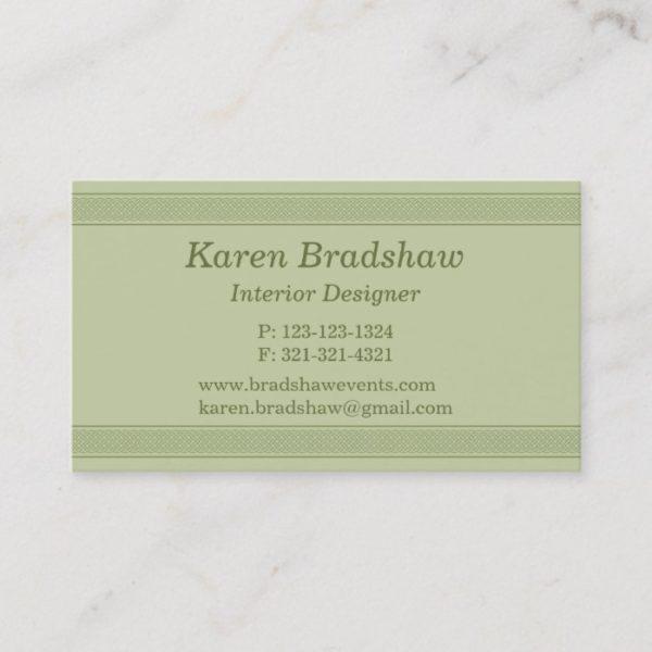 Green Celtic Knot Interior Designer Business Cards