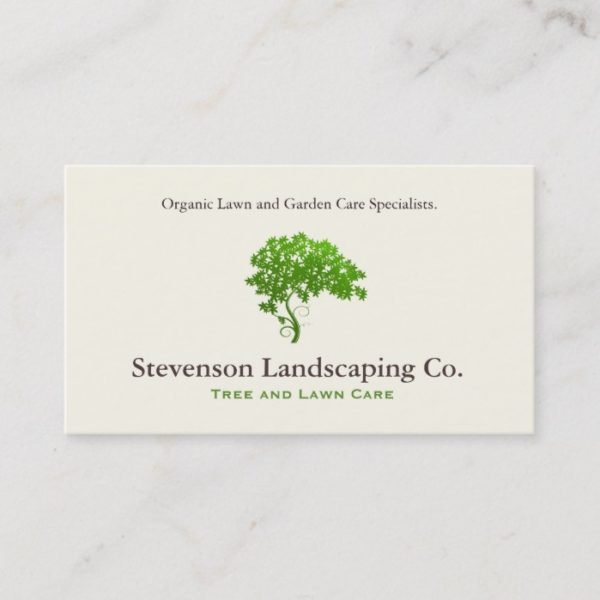 Green Tree Logo  Lawn Care Landscape Designer Business Card