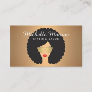 Hair Salon Beauty Girl with Afro on Faux Copper Business Card
