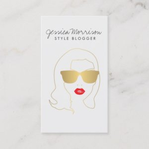 Hair Salon, Style Blogger, Beauty Girl Gold II Business Card