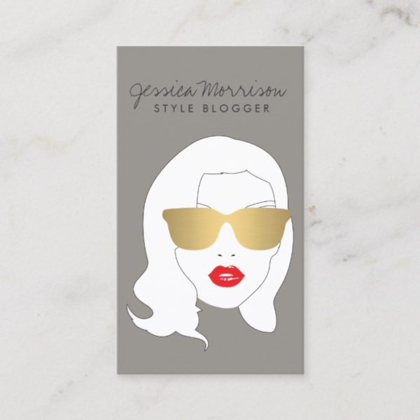 Hair Salon, Style Blogger, Beauty Girl on Gray Business Card