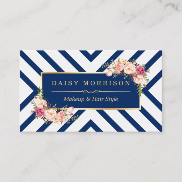 Hair Stylist Beauty Salon Gold Floral Navy Blue Business Card