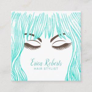Hair Stylist Cute Teal Hair Girl Beauty Salon Square Business Card
