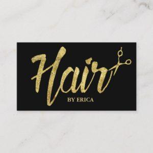 Hair Stylist Gold Typography Modern Elegant Salon Business Card