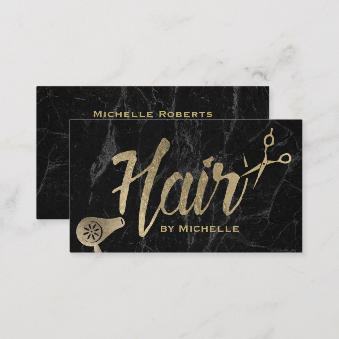 Hair Stylist Gold Typography Modern Marble Salon Business Card