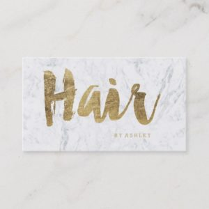 Hair stylist modern faux gold typography marble business card