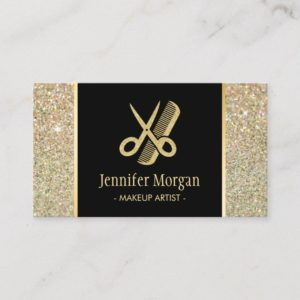 Hair Stylist Modern Gold Glitter Scissors Comb Business Card