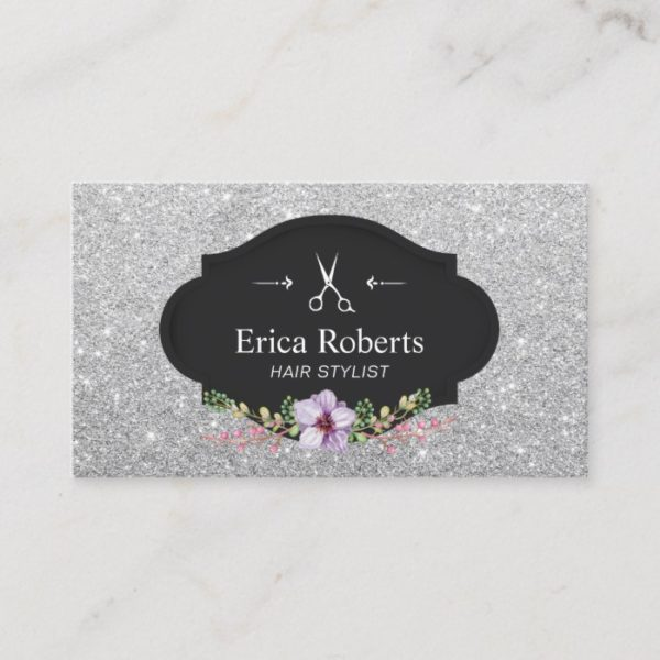 Hair Stylist Modern Silver Glitter Hair Slon Business Card
