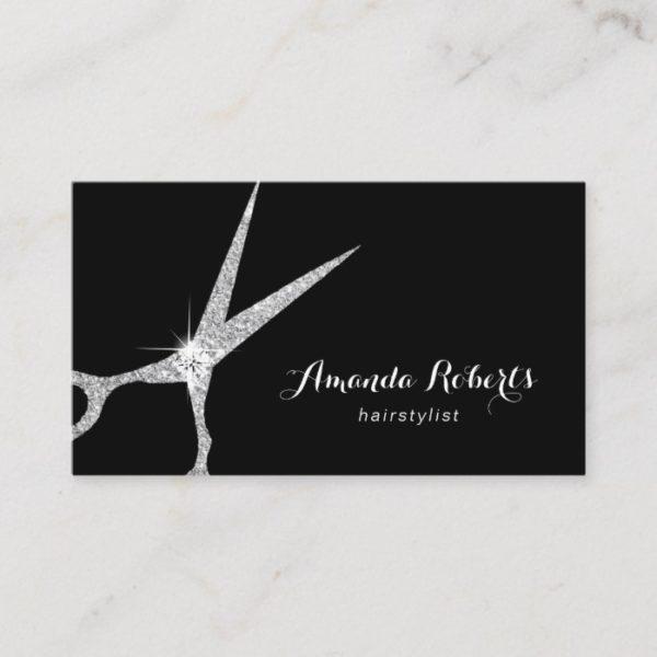 Hair Stylist Modern Silver Glitter Scissor Salon Business Card