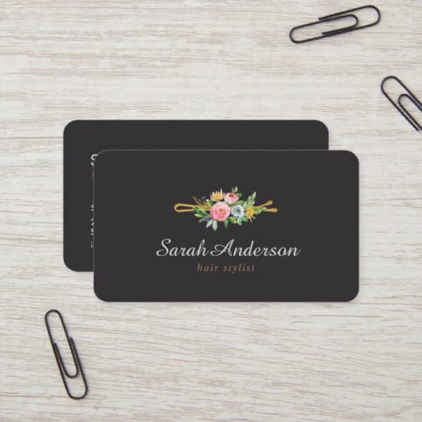 Hair Stylist Professional Logo Beauty Salon Lux Business Card