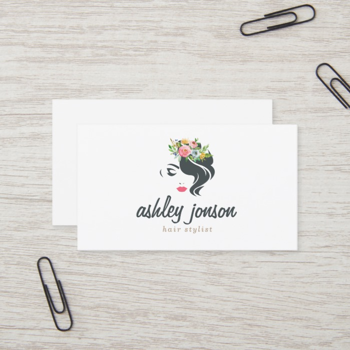 Hair Stylist Professional Logo Modern Elegant Business Card