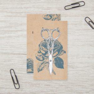 Hair Stylist Vintage Scissor & Blue Rose Floral Business Card