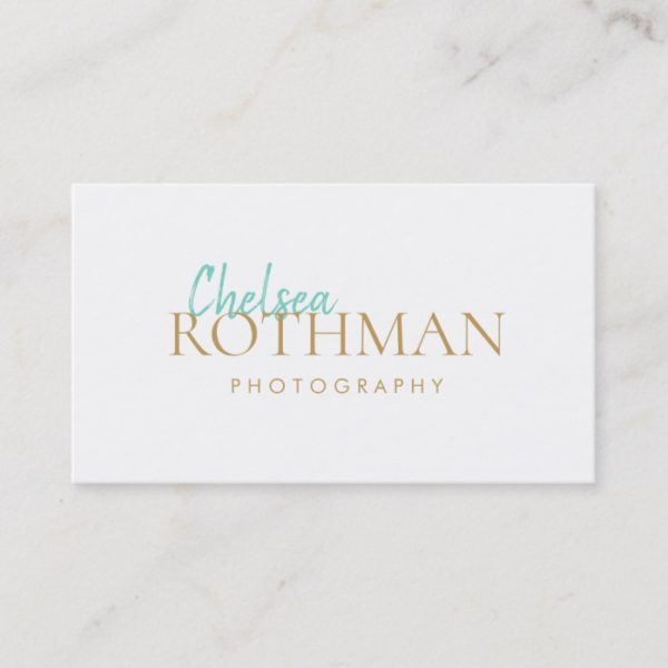 Handwritten Script Font Simple White Business Card