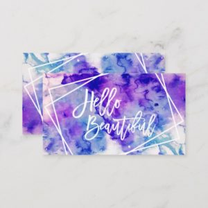 Hello beautiful purple watercolor geometric stripe business card