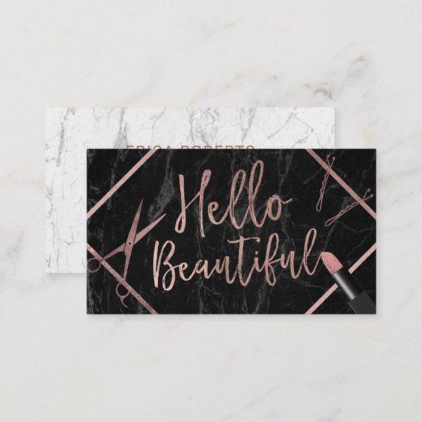 Hello Beautiful Rose Gold Script Marble Salon Business Card