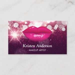 Hot Pink Lips Glitters Beauty Salon Makeup Artist Business Card