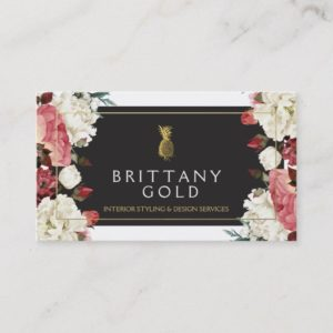 Interior Designer Business Card - Chic Gold Floral
