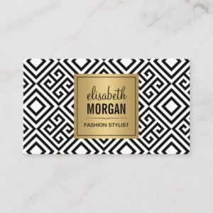 Interior Designer - Luxury Gold Black Geometric Business Card