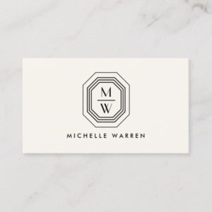 Ivory/Black Art Deco Monogram Beauty Business Card