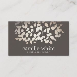 Jewelry Designer Faux Gold Foil Leaves Taupe Business Card