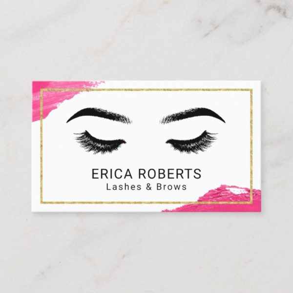 Lashes & Brows Makeup Artist Modern Beauty Salon Business Card