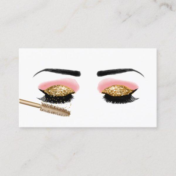 Lashes Makeup Artist Gold Glitter Beauty Salon Business Card