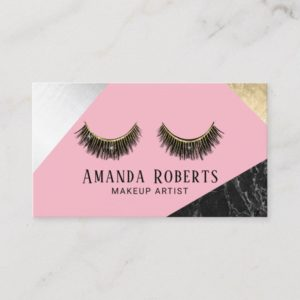 Lashes Makeup Artist Marble Silver Gold Pink Business Card