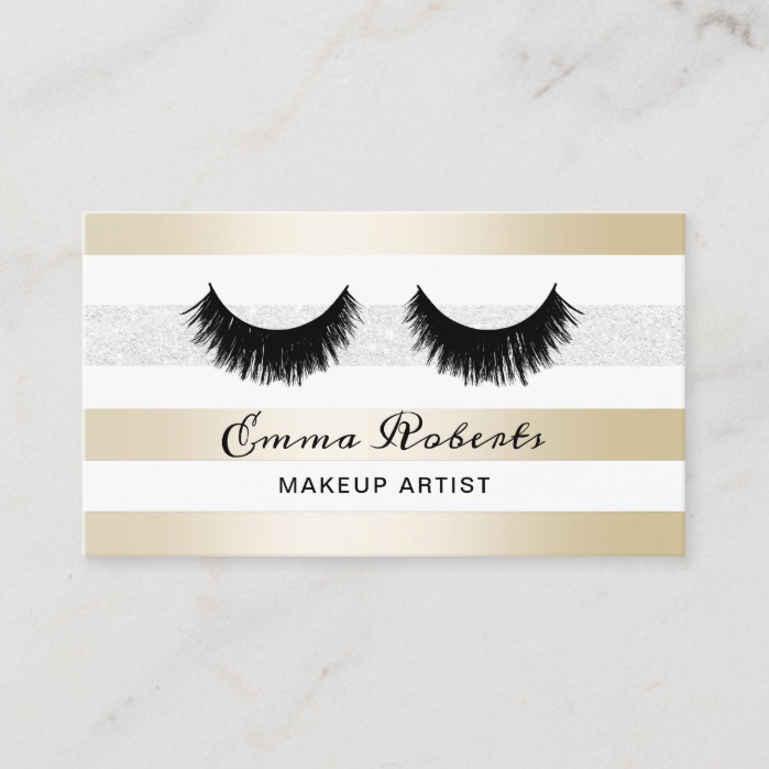 Lashes Makeup Artist Modern Gold & Silver Stripes Business Card