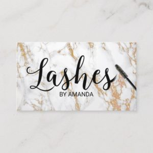 Lashes Makeup Artist Trendy White Marble Business Card