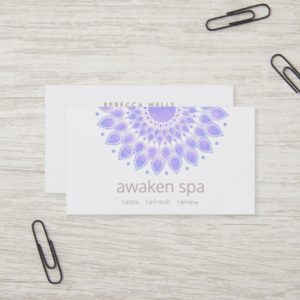 Lavender Lotus Flower Natural Spa and Beauty Business Card