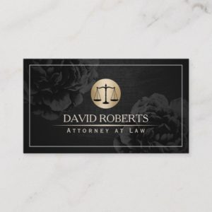 Lawyer Attorney at Law Elegant Black Floral Business Card