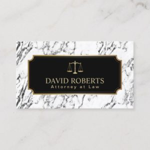 Lawyer Attorney Gold Scale Modern Marble Texture Business Card