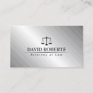 Lawyer Attorney Law Office Modern Metallic Business Card