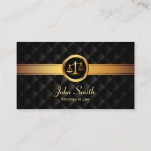 Lawyer Gold Stripe Luxury Dark Attorney Business Card