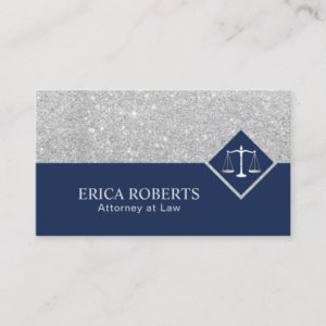 Lawyer Modern Navy Blue & Silver Attorney at Law Business Card